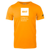 Adidas Gold Logo T Shirt-NYIT College of Osteopathic Medicine - Vertical