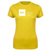 Ladies Syntrel Performance Gold Tee-NYIT College of Osteopathic Medicine - Horizontal