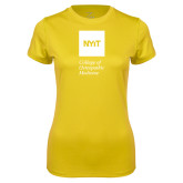 Ladies Syntrel Performance Gold Tee-NYIT College of Osteopathic Medicine - Vertical