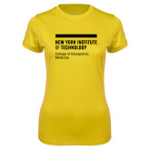 Ladies Syntrel Performance Gold Tee-NYIT College of Osteopathic Medicine - Horiontal