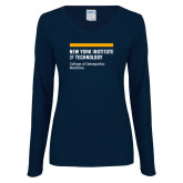 Ladies Navy Long Sleeve V Neck Tee-NYIT College of Osteopathic Medicine - Horiontal