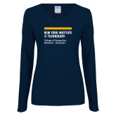 Ladies Navy Long Sleeve V Neck Tee-College of Osteopathic Medicine at Arkansas