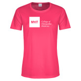 Ladies Performance Hot Pink Tee-NYIT College of Osteopathic Medicine - Horizontal