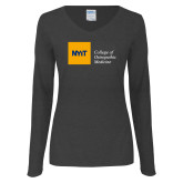 Ladies Dark Heather Long Sleeve V Neck Tee-NYIT College of Osteopathic Medicine - Horizontal
