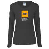 Ladies Dark Heather Long Sleeve V Neck Tee-NYIT College of Osteopathic Medicine - Vertical