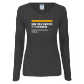 Ladies Dark Heather Long Sleeve V Neck Tee-NYIT College of Osteopathic Medicine - Horiontal