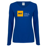 Ladies Royal Long Sleeve V Neck Tee-NYIT College of Osteopathic Medicine - Horizontal
