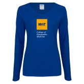 Ladies Royal Long Sleeve V Neck Tee-NYIT College of Osteopathic Medicine - Vertical