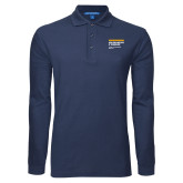 Navy Long Sleeve Polo-NYIT College of Osteopathic Medicine - Horiontal