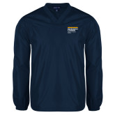 V Neck Navy Raglan Windshirt-NYIT College of Osteopathic Medicine - Horiontal
