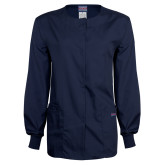 Ladies Navy Snap Front Warm Up Scrub Jacket-NYIT College of Osteopathic Medicine - Horizontal