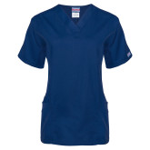 Ladies Navy Two Pocket V Neck Scrub Top-NYIT College of Osteopathic Medicine - Horizontal