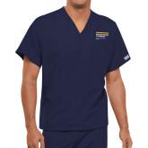 Unisex Navy V Neck Tunic Scrub with Chest Pocket-NYIT College of Osteopathic Medicine - Horizontal