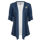 Ladies Navy Drape Front Cardigan-NYIT College of Osteopathic Medicine - Horiontal