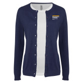 Ladies Navy Cardigan-NYIT College of Osteopathic Medicine - Horiontal
