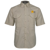 Khaki Short Sleeve Performance Fishing Shirt-NYIT College of Osteopathic Medicine - Horizontal