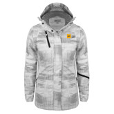 Ladies White Brushstroke Print Insulated Jacket-NYIT College of Osteopathic Medicine - Horizontal