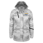 Ladies White Brushstroke Print Insulated Jacket-College of Osteopathic Medicine at Arkansas