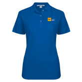 Ladies Easycare Royal Pique Polo-NYIT College of Osteopathic Medicine - Horizontal