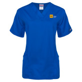 Ladies Royal Two Pocket V Neck Scrub Top-NYIT College of Osteopathic Medicine - Horizontal