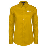 Ladies Gold Twill Button Down Long Sleeve-NYIT College of Osteopathic Medicine - Horizontal
