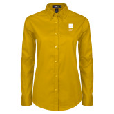 Ladies Gold Twill Button Down Long Sleeve-NYIT College of Osteopathic Medicine - Vertical