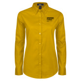 Ladies Gold Twill Button Down Long Sleeve-NYIT College of Osteopathic Medicine - Horiontal