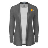 Ladies Heather Grey Open Front Cardigan-NYIT College of Osteopathic Medicine - Horizontal