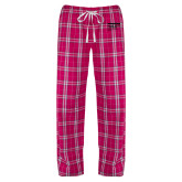 Ladies Dark Fuchsia/White Flannel Pajama Pant-NYIT College of Osteopathic Medicine - Horiontal