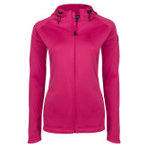 Ladies Tech Fleece Full Zip Hot Pink Hooded Jacket-NYIT College of Osteopathic Medicine - Horizontal