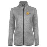 Grey Heather Ladies Fleece Jacket-NYIT College of Osteopathic Medicine - Horizontal