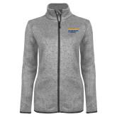 Grey Heather Ladies Fleece Jacket-NYIT College of Osteopathic Medicine - Horiontal