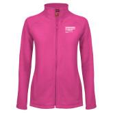 Ladies Fleece Full Zip Raspberry Jacket-NYIT College of Osteopathic Medicine - Horiontal