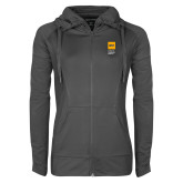 Ladies Sport Wick Stretch Full Zip Charcoal Jacket-NYIT College of Osteopathic Medicine - Vertical