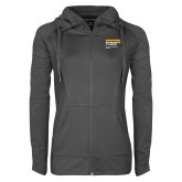 Ladies Sport Wick Stretch Full Zip Charcoal Jacket-NYIT College of Osteopathic Medicine - Horiontal