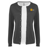 Ladies Charcoal Cardigan-NYIT College of Osteopathic Medicine - Horizontal