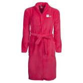 Ladies Pink Raspberry Plush Microfleece Shawl Collar Robe-NYIT College of Osteopathic Medicine - Horizontal