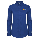 Ladies Royal Twill Button Down Long Sleeve-NYIT College of Osteopathic Medicine - Horizontal