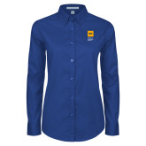 Ladies Royal Twill Button Down Long Sleeve-NYIT College of Osteopathic Medicine - Vertical