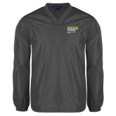 V Neck Charcoal Raglan Windshirt-NYIT College of Osteopathic Medicine - Horiontal