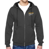 Charcoal Fleece Full Zip Hoodie-NYIT College of Osteopathic Medicine - Horiontal