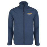 Navy Heather Softshell Jacket-NYIT College of Osteopathic Medicine - Horiontal
