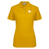 Ladies Easycare Gold Pique Polo-NYIT College of Osteopathic Medicine - Horizontal