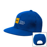 Royal Flat Bill Snapback Hat-NYIT College of Osteopathic Medicine - Horizontal