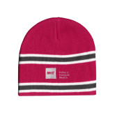 Pink/Charcoal/White Striped Knit Beanie-NYIT College of Osteopathic Medicine - Horizontal