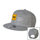 Heather Grey Wool Blend Flat Bill Snapback Hat-NYIT College of Osteopathic Medicine - Horizontal