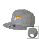Heather Grey Wool Blend Flat Bill Snapback Hat-NYIT College of Osteopathic Medicine - Horiontal