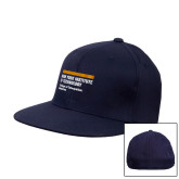 Navy OttoFlex Flat Bill Pro Style Hat-NYIT College of Osteopathic Medicine - Horiontal