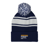 Navy/White Two Tone Knit Pom Beanie w/Cuff-NYIT College of Osteopathic Medicine - Horiontal