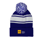 Royal/White Two Tone Knit Pom Beanie w/Cuff-NYIT College of Osteopathic Medicine - Horizontal
